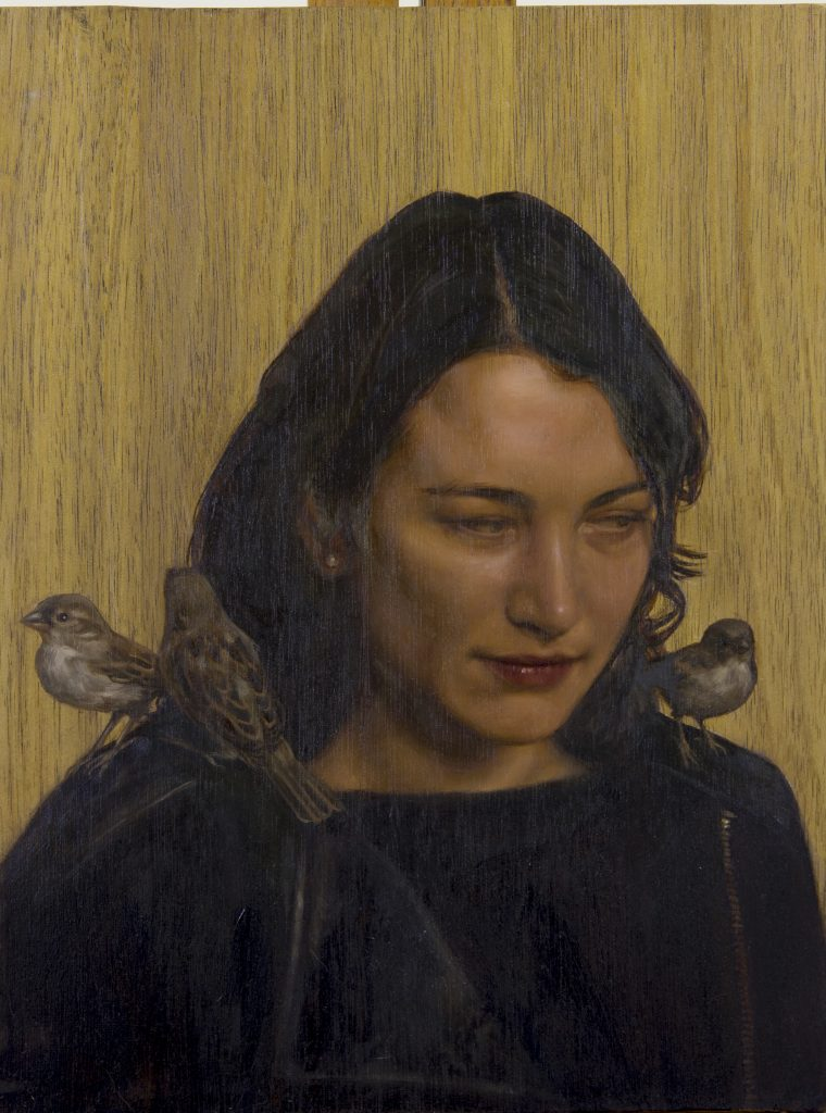 Isabel, oil on Blackwood, 30 x 20cm, Effie Pryer