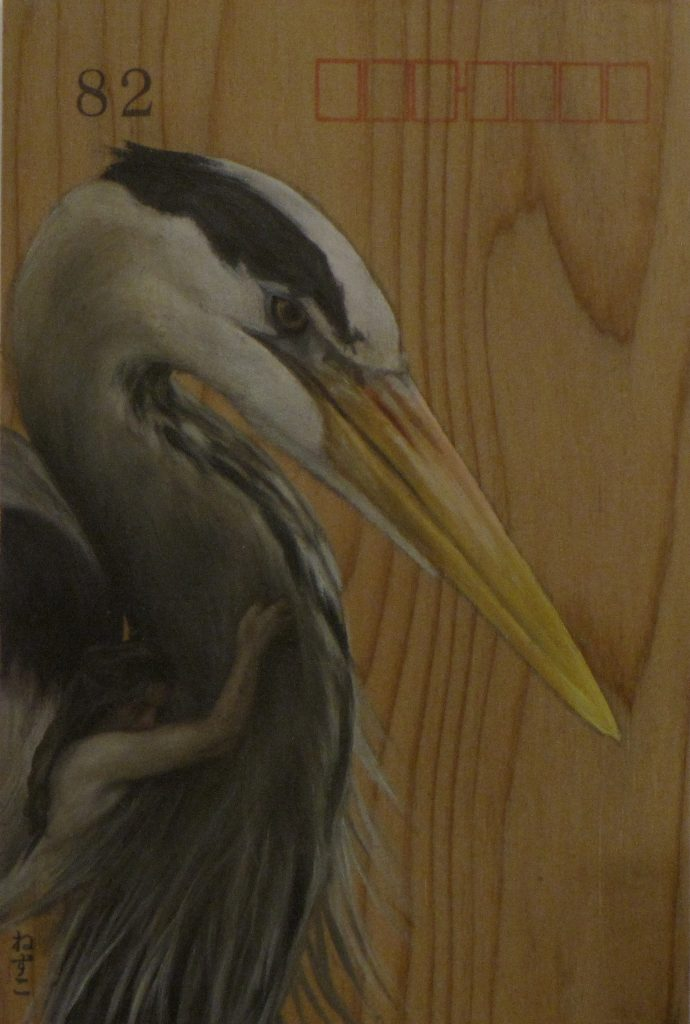 The Heron Maiden - Koropokkuru II, oil on Japanese Thuja, 15 x 10cm, Effie Pryer