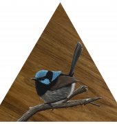 Fairy-wren I, oil on Blackwood panel, triangle 30cm sides, Sebastian Galloway, 2018