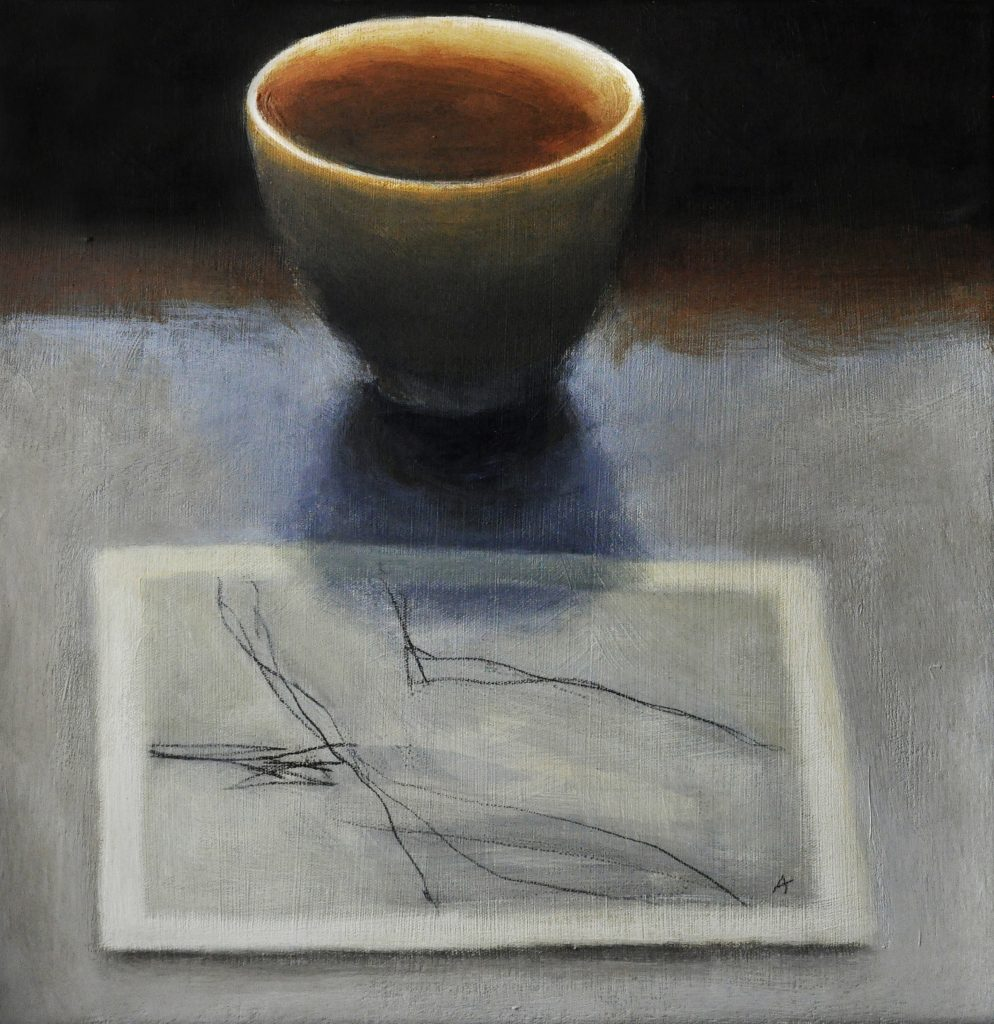 White Bowl, acrylic on canvas, 25x25cm, Adrian Lockhart, 2009