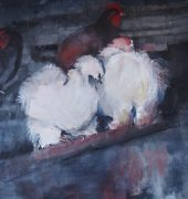 Silkies in the Garden, Margaret Wilson, Painting