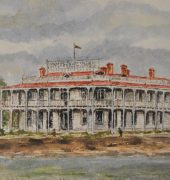 Kathleen Cocker, White's Victoria Hotel, East Devonport, 1974., watercolour painting. The Kathleen Cocker Collection, DCC Permanent Collection, acc. 2016.