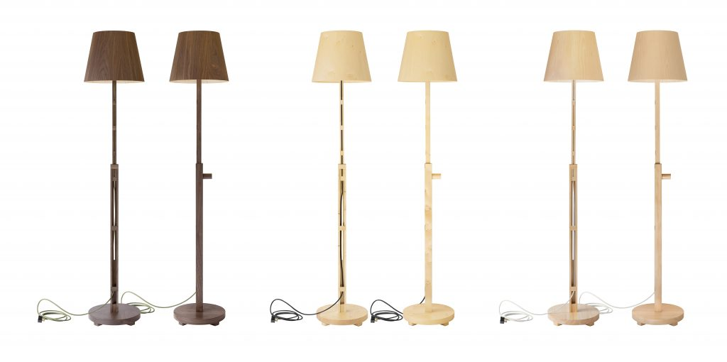 image the the Atlas standing lamp in three different timber species