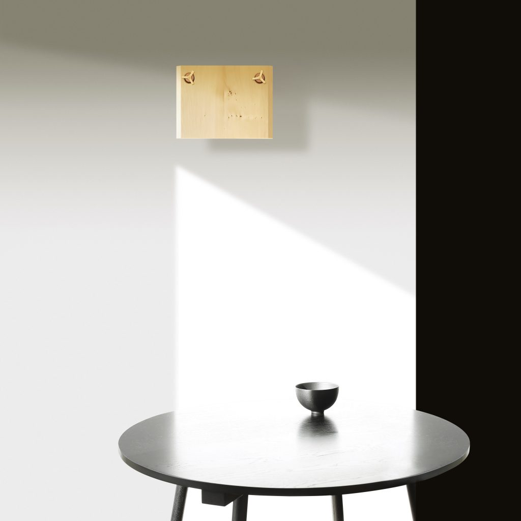 image of Huon One Wall light and Ebonised Round Table