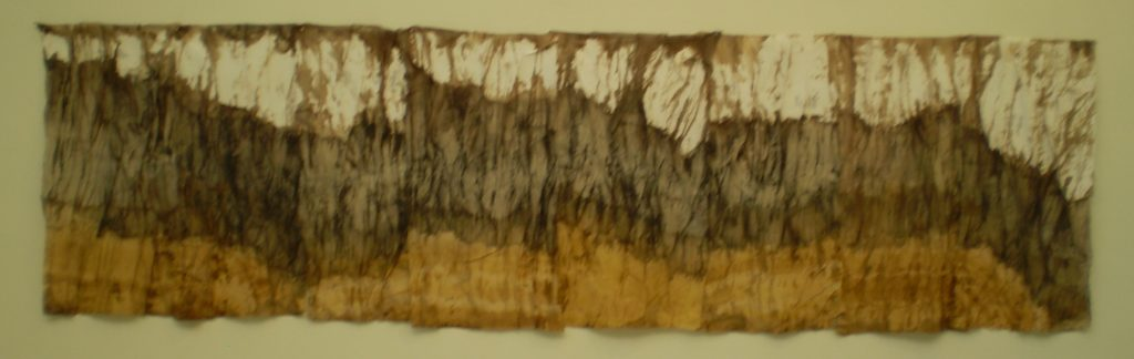 Gorge, tideline. Muslin, iron-on interfacing, natural dyes, hand stitch. 4m x 1.2.