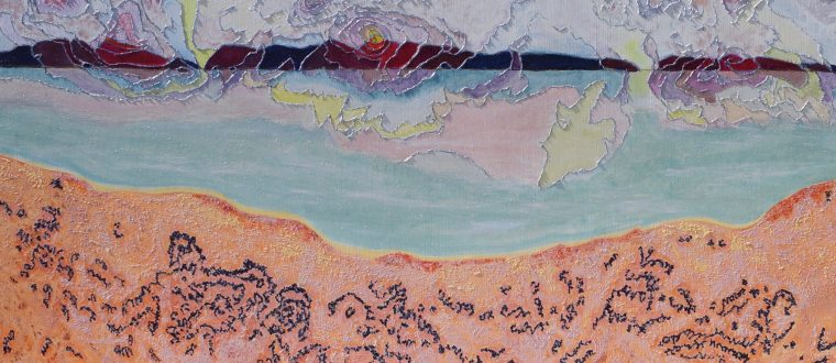 Hilary Clared. poyananu / Freycinet: contour lines with sealife on pink granite (2017). Oil on Linen. 91cm x 122 cm.
