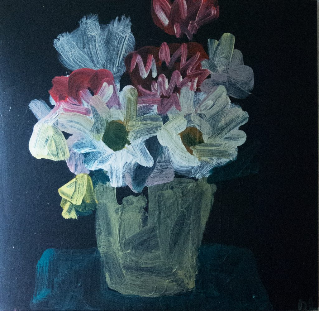 Pink bouquet 2018, synthetic polymer on Belgian linen, 87 x 87cm, Donna Lougher
