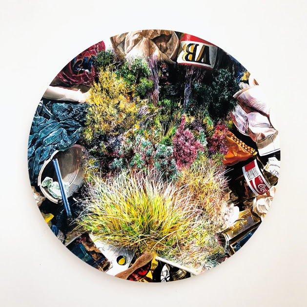 """""""Out""""""""In""""""""Nature"""" (...in, out, in, out, in, out...), acrylic on board, 60cm diameter, Josh Foley, 2018"""