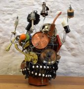 Outsider artist D Moopoo makes assemblage works