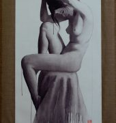 Large linen hanging scroll with figure painted in ink