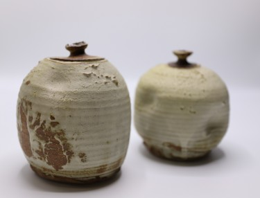 Image: Ray Hearn, 3 Rolled Dry Pots (detail), 1982, stoneware, DCC Permanent Collection, acc. 1982.104a-c