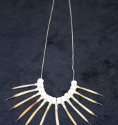 Tasmanian short beaked echidna quill , bone bead and silver necklace