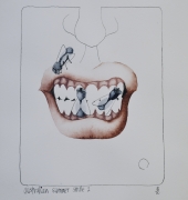 1. Tom Samek, Australian Summer Smile 2, 1976, etching DCC Permanent Collection. Image couresty of the artist.