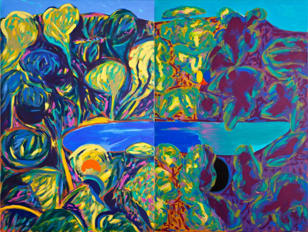 2. Trees Around a Lake Reimagined (2014), acrylic on canvas, 91.5cm X 122cm X 4cm (diptych) 5kg $4,000