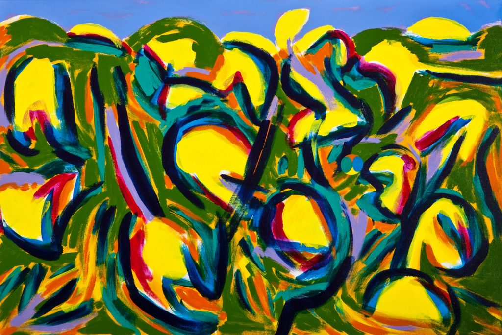 24. Yellow Balm (2017), acrylic on canvas, 61cm x 91cm x 2cm 1kg $2,500