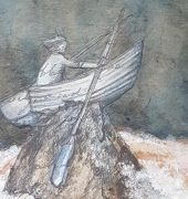 Caroline Amos, On the rocks - still rowing. Mixed Media on Board. 30 x 30cm