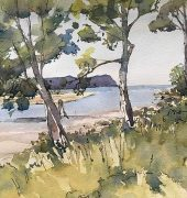 Maryann Dwyer, Cloudy Bay Lagoon Bruny Island, 2019, watercolour
