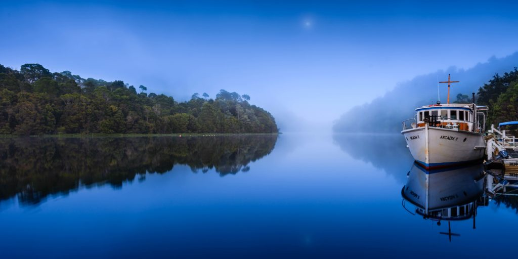 'Fog and Moon over Pieman River', Loic Le Guillly