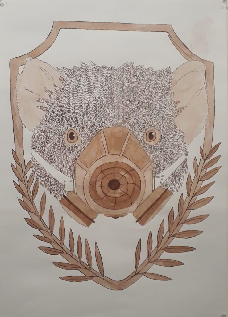 , April CORBETT, Leighland Christian School - Ulverstone & Burnie,  (Tasmanian Devil), Ink and bamboo reed pen on paper, Art Production