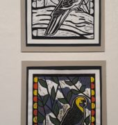 , Marian Joubert – Hellyer College Green Rosella lino print colour reduction Art Production