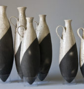 Raku pods bottles by Robin Roberts