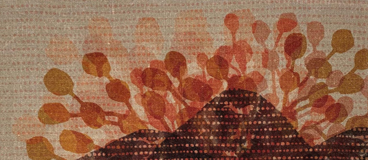 Josephine Palmer, 2021 Fagus Mountain Range [detail] Turning of the Fagus series- Exploring patterns in Nature, Continuum, Reactive printing on Linen, 50cm x 50cm, $450