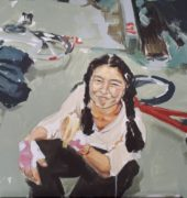 Corinna Howell. Mum's Cycling Club (2020). Oil and acrylic on canvas. 61 x 91.5 cm.