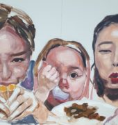 Corinna Howell. The New Supper (panel 1) (2019). Oil on board. (Panel 1 of 3): 121 x 90 cm.