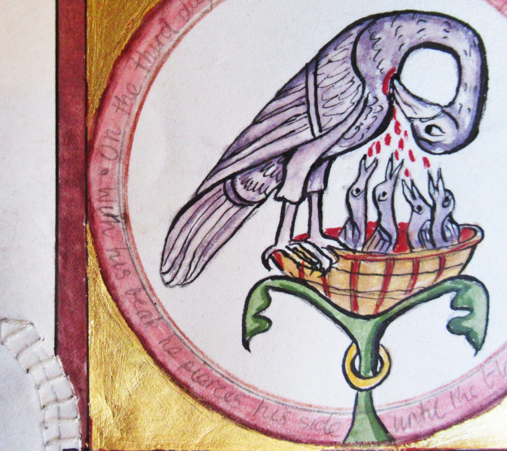 Ursula Betka_Transforming Wounds (Pelican detail)_2021 _Egg glair tempera painting with 23 Karat gold-leaf_75cm X 43cm (vertical frame)